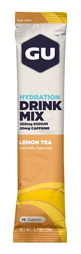 GU Hydration Drink Mix - Lemon Tea Stick Packs (With Caffeine) - 24