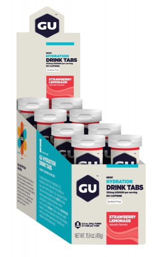 GU Hydration Drink Tabs - Strawberry Lemonade 8 Tubes X 12 Tabs Per Tube