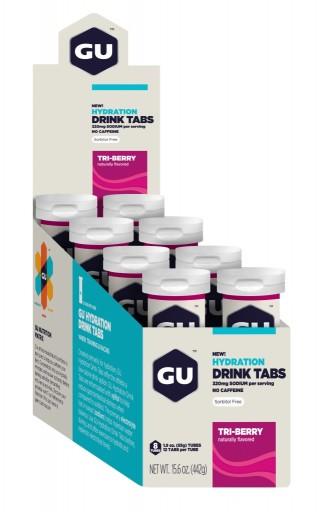 GU Hydration Drink Tabs - Tri Berry - 8 Tubes X 12 Tabs Per Tube